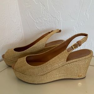Tory Burch Rosalind Rafia Woven Peep Toe Wedges